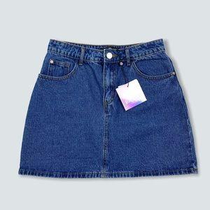 Missguided A-Line Denim Jean Mini Skirt Size 4 UK8